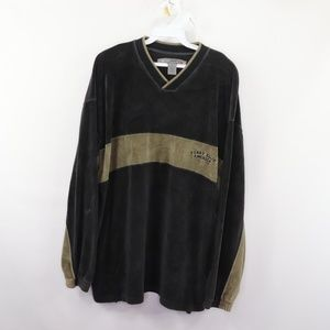 Vintage Perry Ellis Velour Spell Out Sweater Black